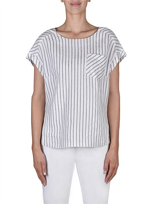 Short Sleeve Stripe Panel Shell Top