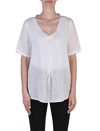 Short Sleeve V Neck Pintuck Linen Top