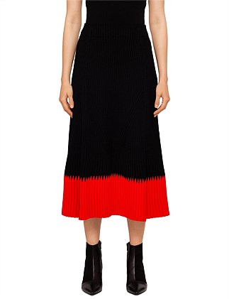 Ribbed Midi Knit Skirt With Contrast Trim