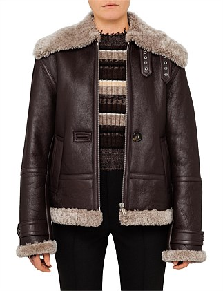 MERINO SOFT CURLY AVIATOR SHEARLING JACKET