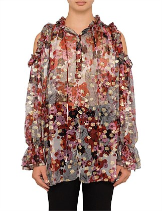 Feather Flower Print Drop Sleeve Top