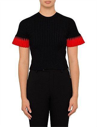 Ribbed Crop Knit With Contrast Sleeve