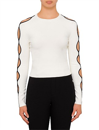 Intarsia Cut Out Long Sleeve Knit