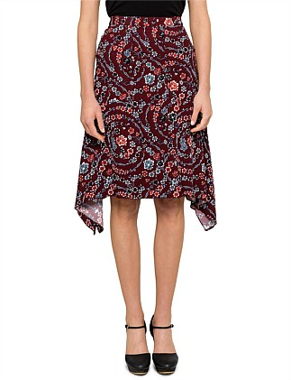 FLORAL RIBBONS VISCOSE SKIRT