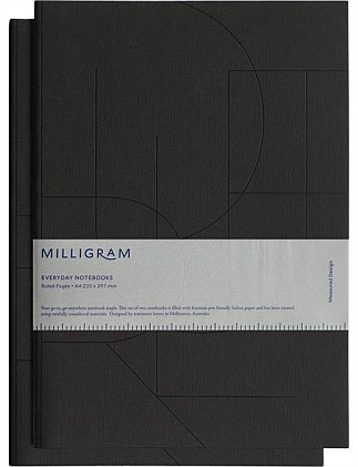 Basic Notebook - Set Of 2 - Ruled - A4 - Black