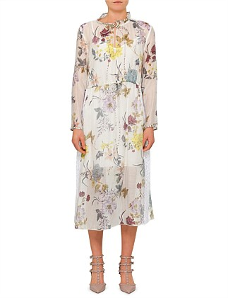 FLORAL PATCHWORK ORGANZA L/S MAXI DRESS