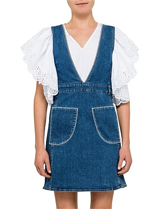 STONE WASHED PATCH DENIM PINAFORE