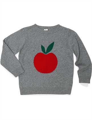 GIRL LONG SLEVVE SWEATER WITH APPLE