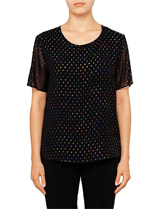 WOMENS TOP BLACK WITH MULTI METALLIC COLOUR SPOTS