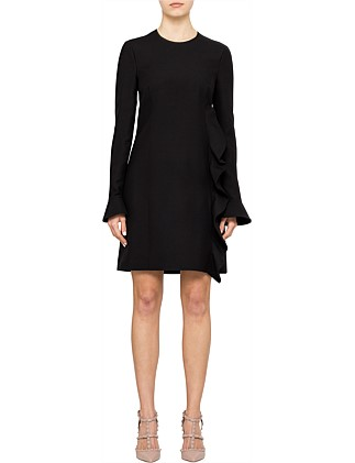 Crepe Long Sleeves Mini Frill Dress