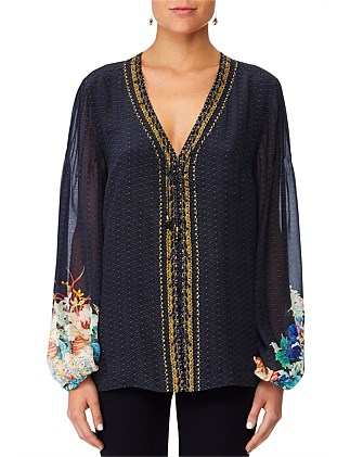Up all night Peasant Blouse W/Front Lacing