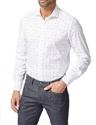 COTTON OXFORD NUMBERS JAQUARD SHIRT