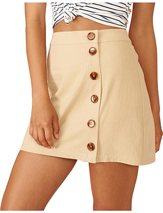 NEUTRAL BUTTONED MINI SKIRT