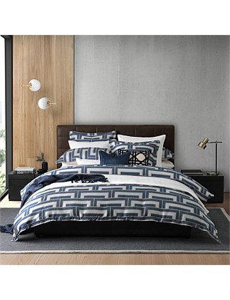STEPS NAVY QUILT COVER SET QUEEN BED