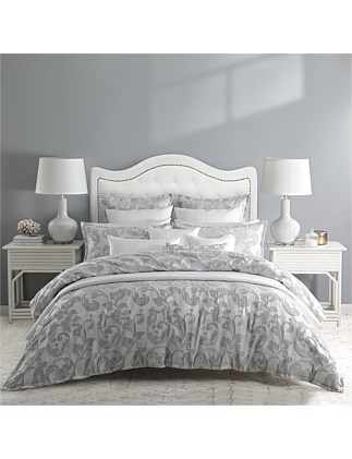 SERENADE SILVER QUILT COVER SET QUEEN BED
