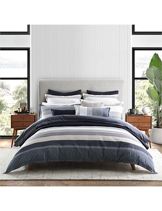 AVOCA NAVY QUILT COVER SET SUPER KING BED