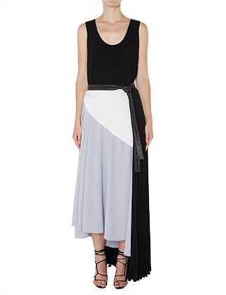 ASYMMETRIC PLEATED TANK DRESS