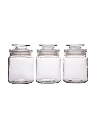 &Maxwell & Williams Galley Glass Canister Set of 3 750ML