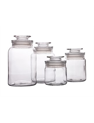 &Maxwell & Williams Galley Glass Canister Set of 4
