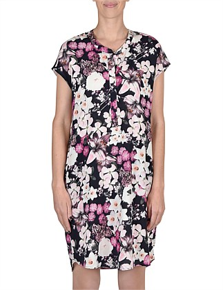 Ext Shoulder Summer Floral Dress