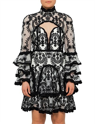 Candice High Neck Long Sleeve Lace Dress
