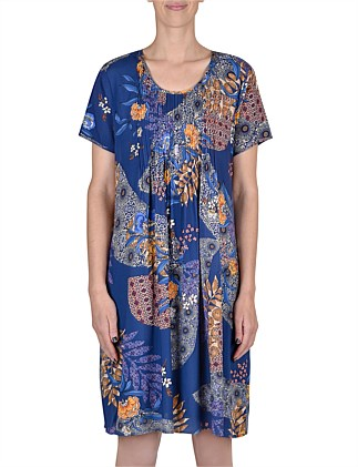 Short Sleeve Pintuck Printed Dress