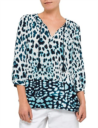 Animal Print Vented Blouse