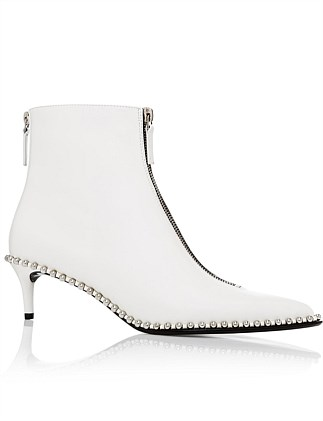 ERI KITTEN HEEL BOOTIE  WHITE LEATHER