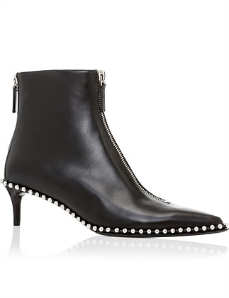 ERI KITTEN HEEL BOOTIE  BLACK LEATHER