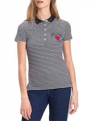 Lia Stripe Pique Short Sleeve Polo