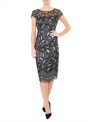 GRAPHITE SEQUINED MESH DRESS