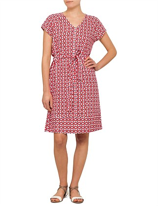 Geo Print Belted Dress