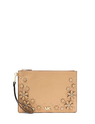 Medium Floral Embellished Pebbled Leather Pouch
