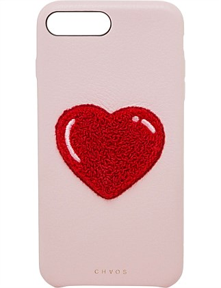 LEATHER HEART CHENILLE IPHONE 7/8+ CASE