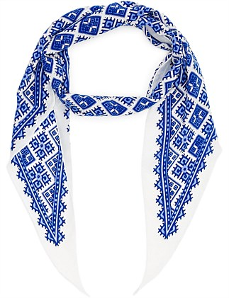 BIASE CUT PRINT LONG ISLAND PRINT HAIR SCARF
