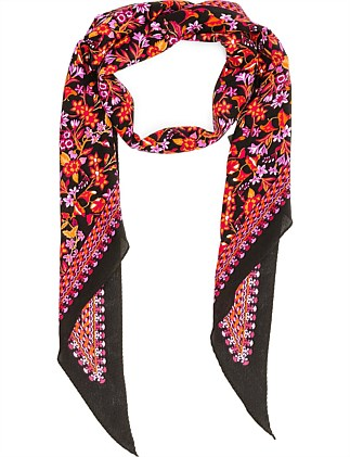 BIASE CUT PRINT LONG MONO PRINT HAIR SCARF