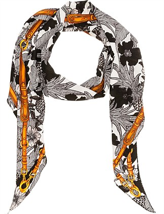 BIASE CUT PRINT LONG FLORAL PRINT HAIR SCARF