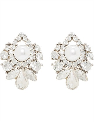 Stone Cluster Earring with Pearl