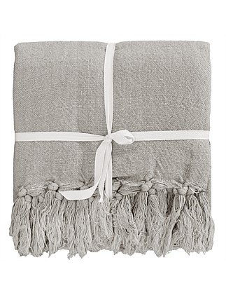 Indira Linen Throw Taupe