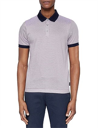 Beagle Stripe Polo W/ Contrast Collar
