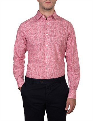 ALEXANDRA SPINKLE LEAF PRINT SLIM FIT SHIRT