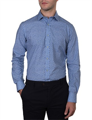 BRENNARD MINI LEAF PRINT SLIM FIT SHIRT