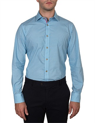 WATKINS GEO HONEYCOMB PRINT SLIM FIT SHIRT