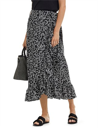 Ditsy Palm Print Skirt