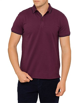 Payout pique polo w/ knitted collar
