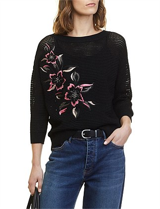 Hibiscus Embroidered Knit