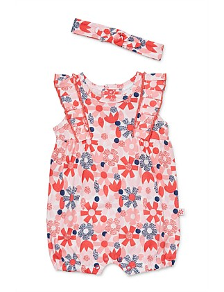 Flower Dot Romper & Heaband (0000-1Year)
