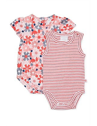 Flower Dot 2pk Bodysuit (0000-1Year)