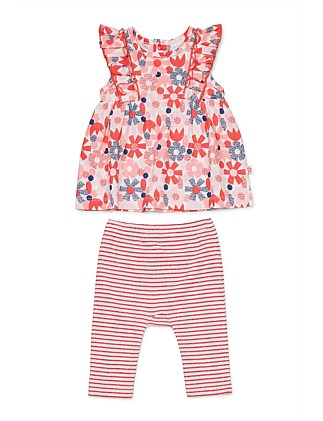 Flower Dot Top & Leggins Set (0000-1Year)