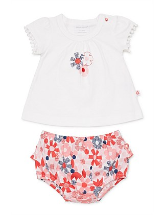 Flower Dot Top & Bloomer Set (0000-1Year)